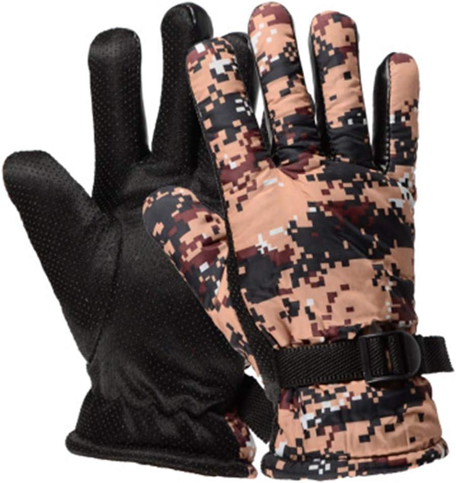 VIWIV Guantes de los Hombres Caliente de Invierno y Guantes de esquí de Invierno Camuflaje Grueso algodón Impermeable de los Hombres de a Caballo, Opcionales, 2 Pares