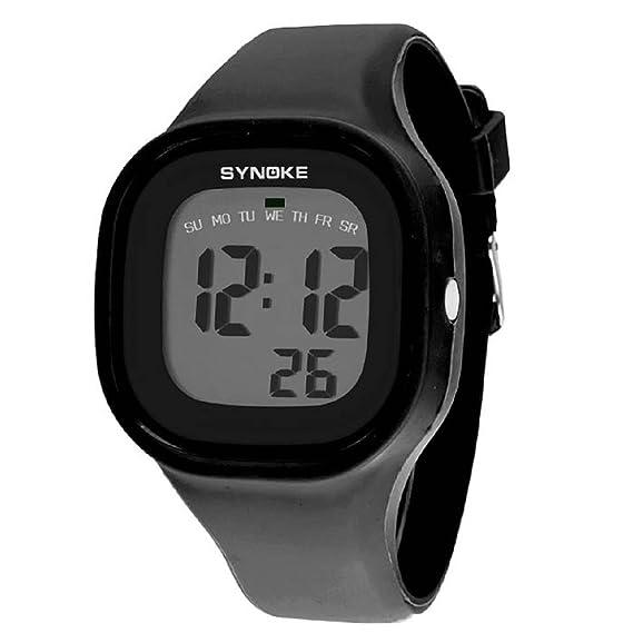 Malloom® 2015 moda natación reloj deportivo silicona digital LED impermeable unisexo reloj Negro: Amazon.es: Relojes