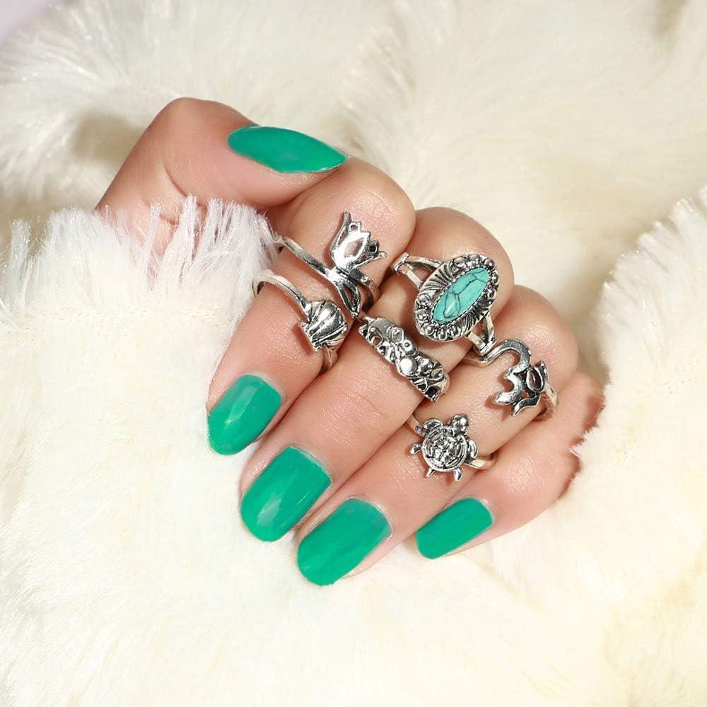 Deniferymakeup Anillo de corona vintage turquesa con imitación de piedra preciosa anillo de serpiente (juego de 6)