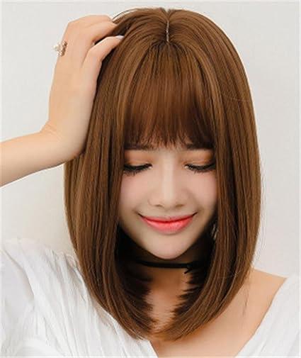 AN-LKYIQI Ragazze capelli corti dritti lanuginoso onda pera testa testa aria Liu parrucca capelli: Amazon.es: Deportes y aire libre
