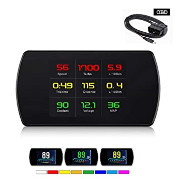 YUGUIYUN HUD Head Up Display para Coche P12, OBD2 Digital ...