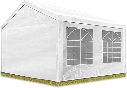 4x6m PE 180g Gazebo Waterproof Garden Marquee Canopy Tent Steel Frame white