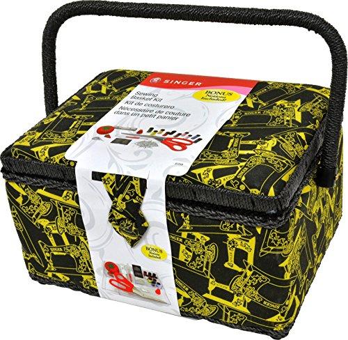 singer 07259 Black & Gold Tossed Large Sewing Basket by singer