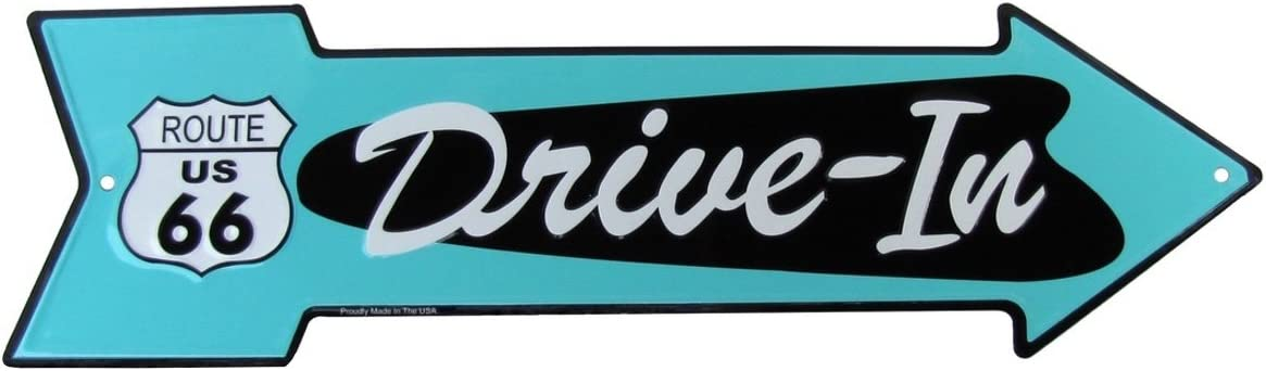 Treasure Gurus Route 66 Drive in Arrow US Made Metal Sign Diner Garage Man Cave Wall Decor