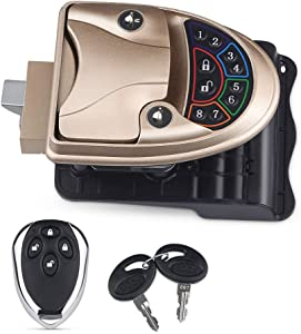 WATERWICH RV Keyless Entry Door Lock Handle Latch Zinc Alloy Wireless with Keypad & Fob 20m Remote Control for Caravan Camper Bus Yacht Ferry Truck (Gold)