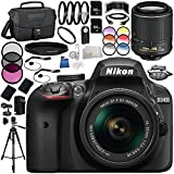 Nikon D3400 DSLR Camera 23PC Bundle (Black) - Includes AF-P DX NIKKOR 18-55mm f/3.5-5.6G VR Lens + Nikon AF-S DX NIKKOR 55-200mm f/4-5.6G ED VR II Lens + MORE - International Version (No Warranty)