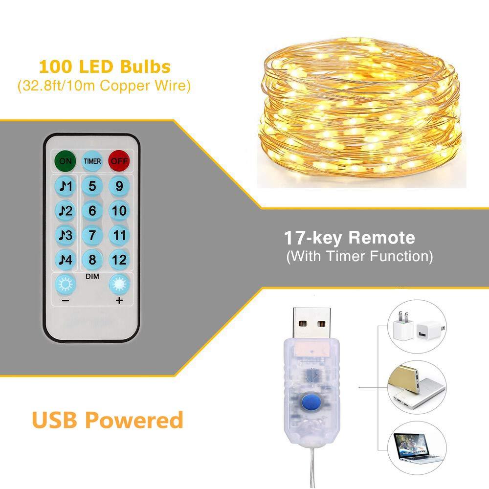 Blanc Chaud Guirlande Lumineuse LED Etanche USB,Enshant 10M 100 LEDs 8 Modes Avec T/él/écommande Fil de Cuivre D/écoration int/érieur et ext/érieur pour Jardin,No/ël,Anniversaire,Mariage,Soir/ée