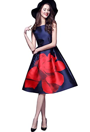 c58be08a47 Buenos Ninos Women s Sleeveless Flower Printed Slim Fit Vintage Cocatail Flare  Dresses Navy S