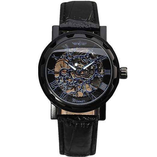 Relogio Masculino Winner marca relojes hombre esqueleto mano viento reloj rosa blanco Carcasa macho lujo mecánica relojes de pulsera de moda: Amazon.es: ...