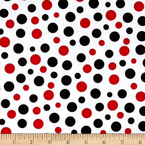 A.E. Nathan Comfy Flannel Dots Red/Blk/Wht Fabric by The Yard, ()