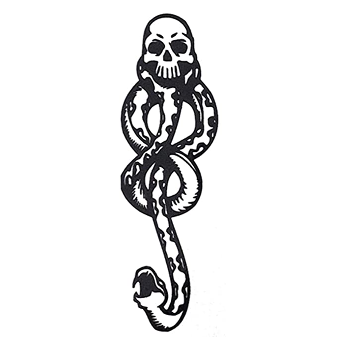 Dark Mark Death Eater Temporary Tattoos 8 Sheets Halloween Skull Temporary Tattoos for Party Cosplay Accessories