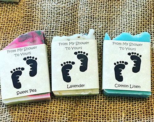 Suds By Stacy and More Sampler/Party Favor Soaps From My Shower to Yours Custom Labels - 30 Pack Samplers w/Baby Feet Clip Art -