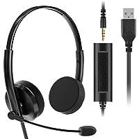VddSmm Auriculares USB para PC con Funciones de Control de Audio y Micrófono, Auriculares Estéreo para Llamadas de Red…