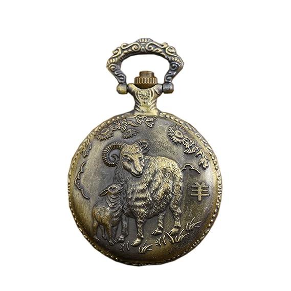 Zodiac Sheep Antiguo estilo reloj de bolsillo para hombres y mujeres con cadena de latón