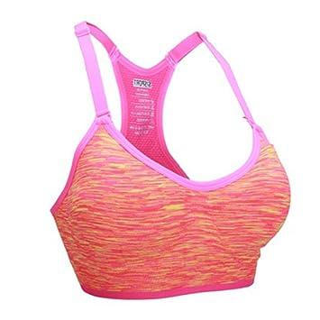 LaoZan Mujer Sujetador Deportivo con Relleno Push Up para Yoga Correr Sujetador Deportivo Gimnasio Pink S: Amazon.es: Deportes y aire libre