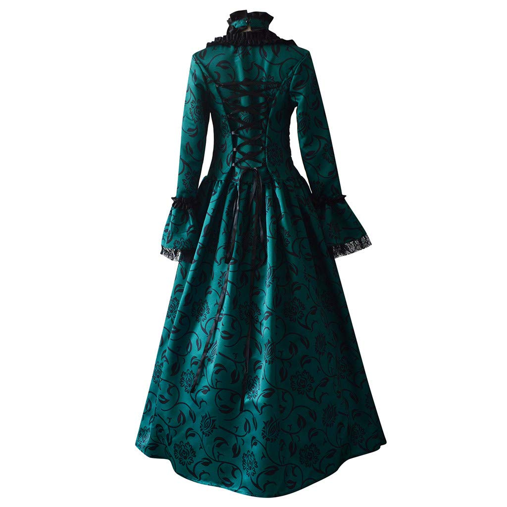 Women Medieval Dress Renaissance Lace Up Vintage Gothic Dress Floor Length Hooded Cosplay Dresses Retro (5-Green Floral Print Ball Gowns, 5XL) by Hotcl
