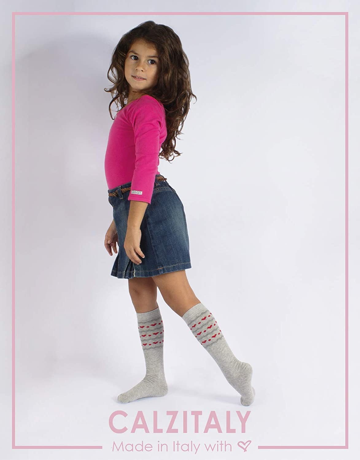 KIDS KNEE HIGH BLUE 11//1 WARM LONG SOCKS GREY 2//5 SIZES 7//10 PINK ITALIAN HOSIERY | 3 PAIRS GIRLS COTTON SOCKS