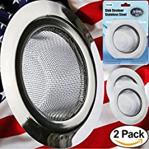 "Kitchen Sink Strainer - 2 PC Stainless Steel Sink Strainer 4.5"" - Strong, Clean, Reliable Stainless Steel Prevent Rust, Edges Not Sharp, Deep Mesh, Quick Outflow - Outer 4.5"" x Inner 2.75"" x Deep 1.5"""