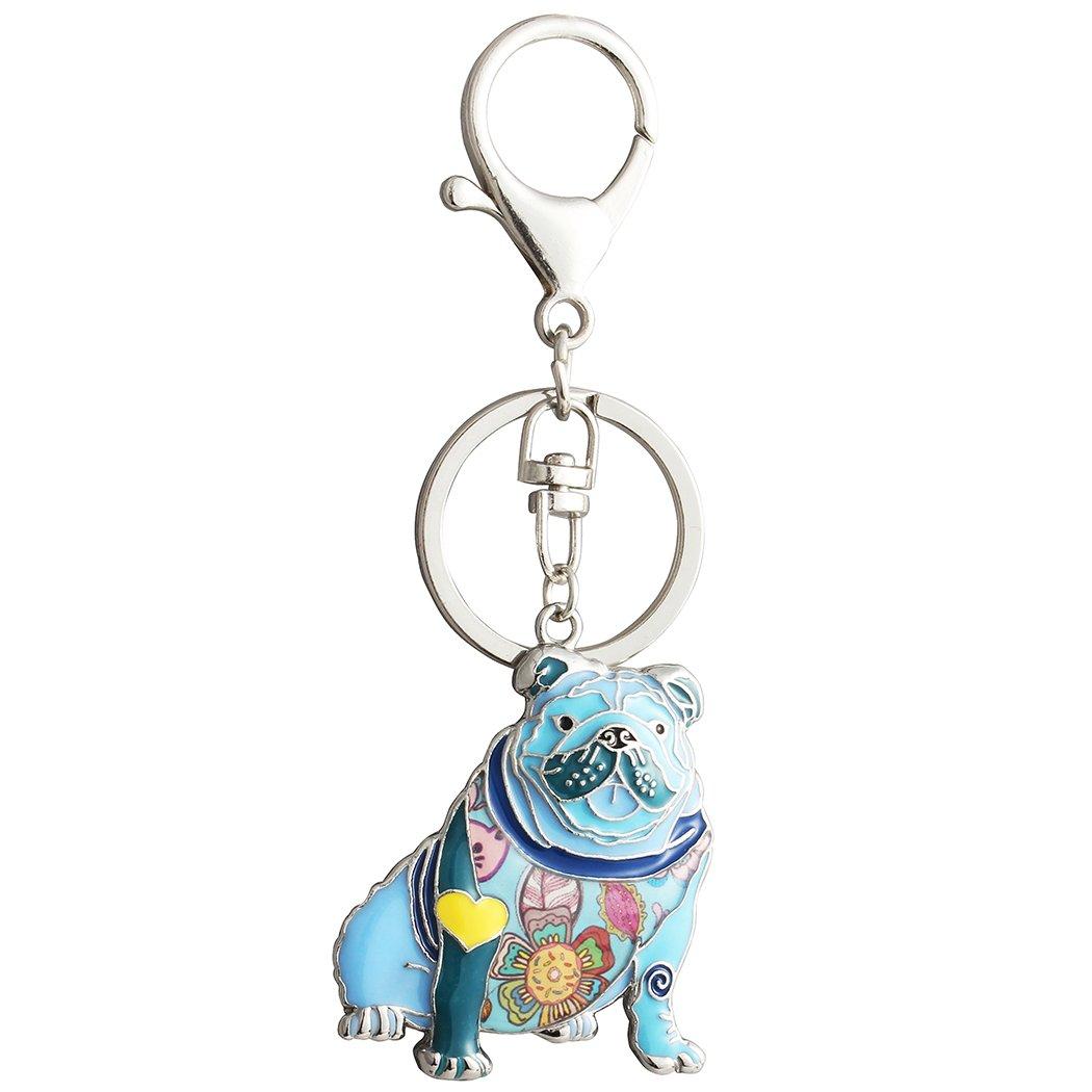 Luckeyui Unique English Bulldog Gifts Keychain for Women Girls Cute Blue Enamel Animal Keyring