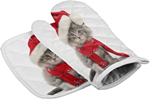 Oven Mitts Insulated Kitchen Glove with Heat Resistant Square Pad, Close-up of Cute Cat Wearing Red Scarf and Christmas Hat Funny Design, Cooking Gloves for BBQ/Picnic/Kitchen/Home Use