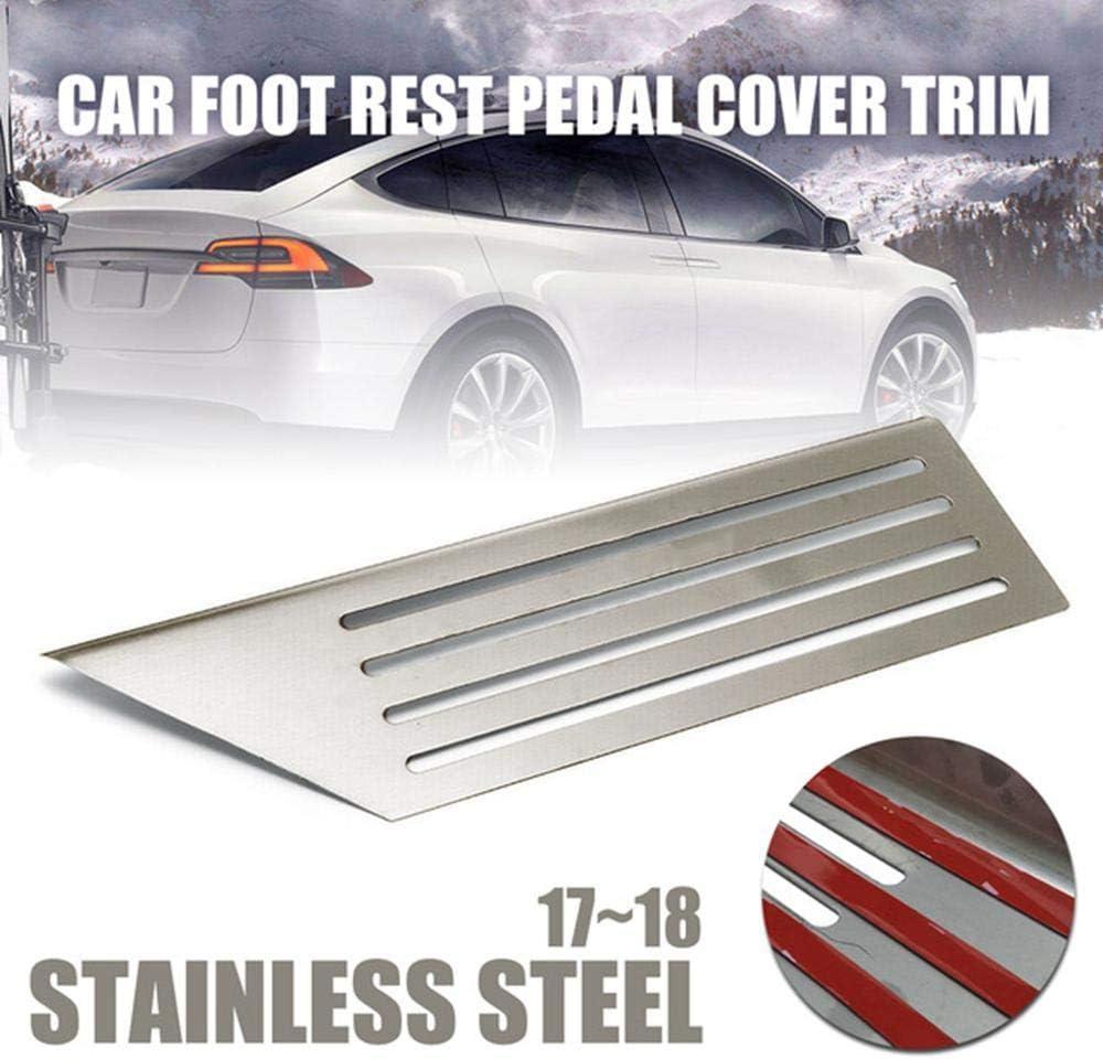 Volwco Tesla Model 3 Copripedale per Auto in Acciaio Inox e Gomma Antiscivolo