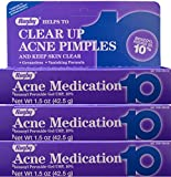 oxy 10 - Benzoyl Peroxide 10% Generic for Oxy-10 Balance Acne Medication Gel 1.5oz 3 Pack, 3 Count