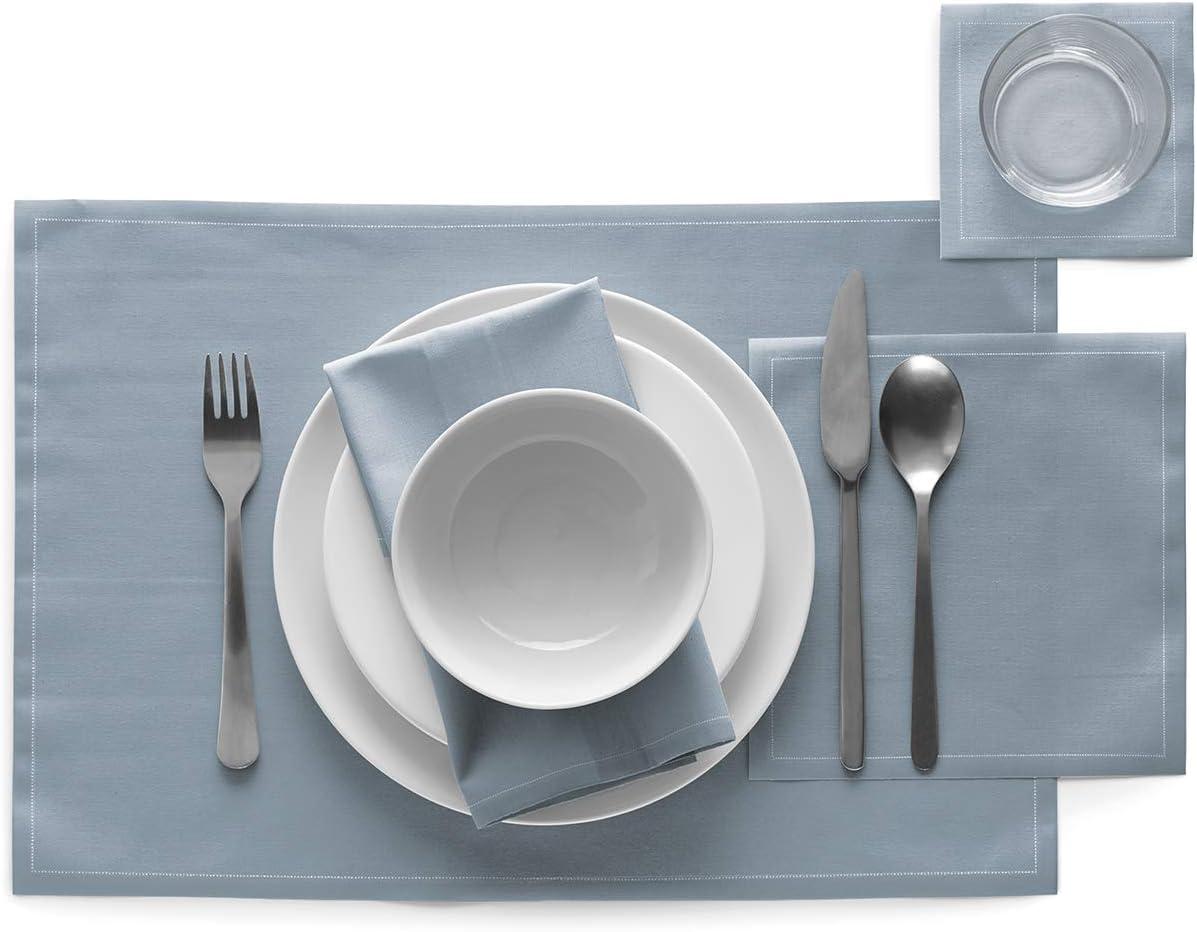 Coton ap/éritif Bleu 5 cm Cocktail MYDRAP SA11//410-2 My Drap Table 11x11cm-Id/éale pour f/ête Dessous de Verre-Rouleau de 50 Serviettes Brume