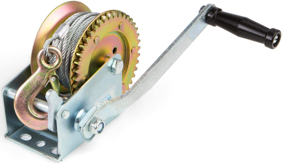 Up to 2,000 lbs Capacity Manual Operated Two-Way Ratchet XtremepowerUS Hand Winch Crank Gear Winch /& Cable