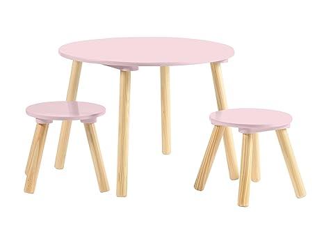 My note deco samot set tavolo sgabelli rosa legno x