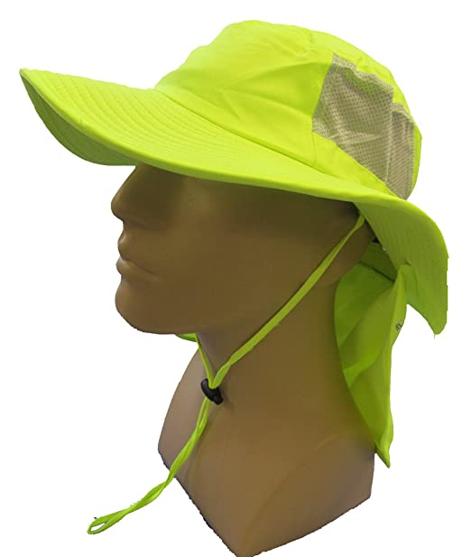 1134fe9c Image Unavailable. Image not available for. Color: OccuNomix Tuff & Dry  Wicking & Cooling Hi Viz Yellow Ranger Hat with Neck Shade -