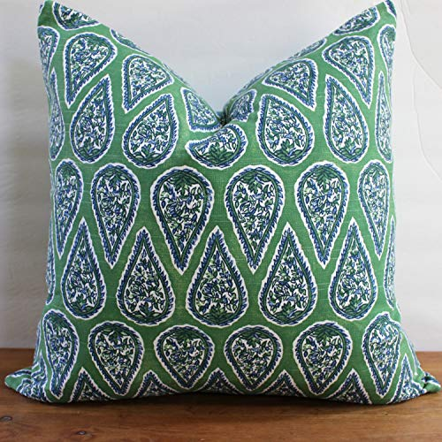 alerie Sassoon New Decorator Pillowcase Cushion Cover Blue and Kelly Green Anya