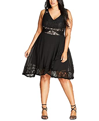 Seduction Chiffon Lace Dress In Black Size 16 S At Amazon