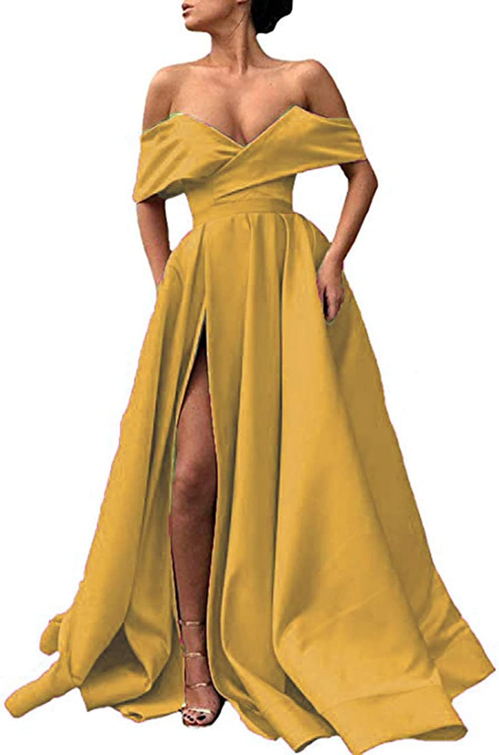 gold Ri Yun Womens Off The Shoulder Prom Dresses Long Split 2019 ALine Satin Formal Evening Ball Gowns with Pockets