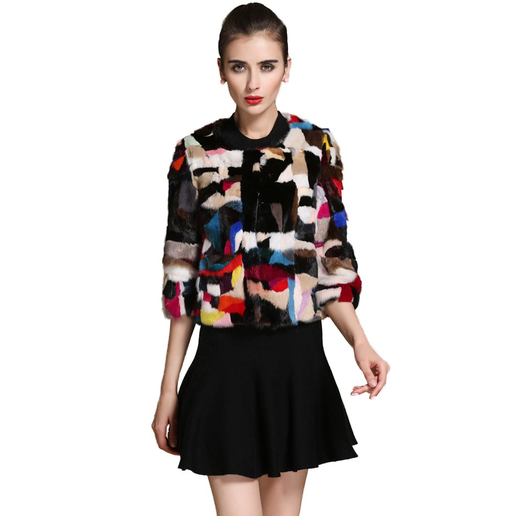 Women's Fur Coat with Real Mink Fur Thick Warm Coat 3/4 Sleeve O Neck US 6 (Multicolor) - Fur Story