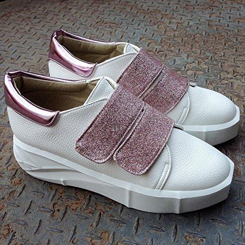 Summerwhisper Mujeres Trendy Square Toe Velcro Low Top Mocasines Zapatos Plataformas Rosa