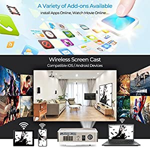"HD Android Video Projectors 1080P, 4200Lumen HDMI 5.8"" LCD TFT Display LED Home Theatre Wifi Projector Support Airplay Miracast Wireless Proyector for iPhone Smartphone, Gaming TV DVD Player Backyard"