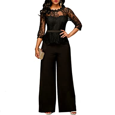c62434c0a912 Amazon.com  Jumpsuits Sexy Lace Jumpsuit Work Ruffles Plus Size Long  Straight Jumpsuits Red  Clothing