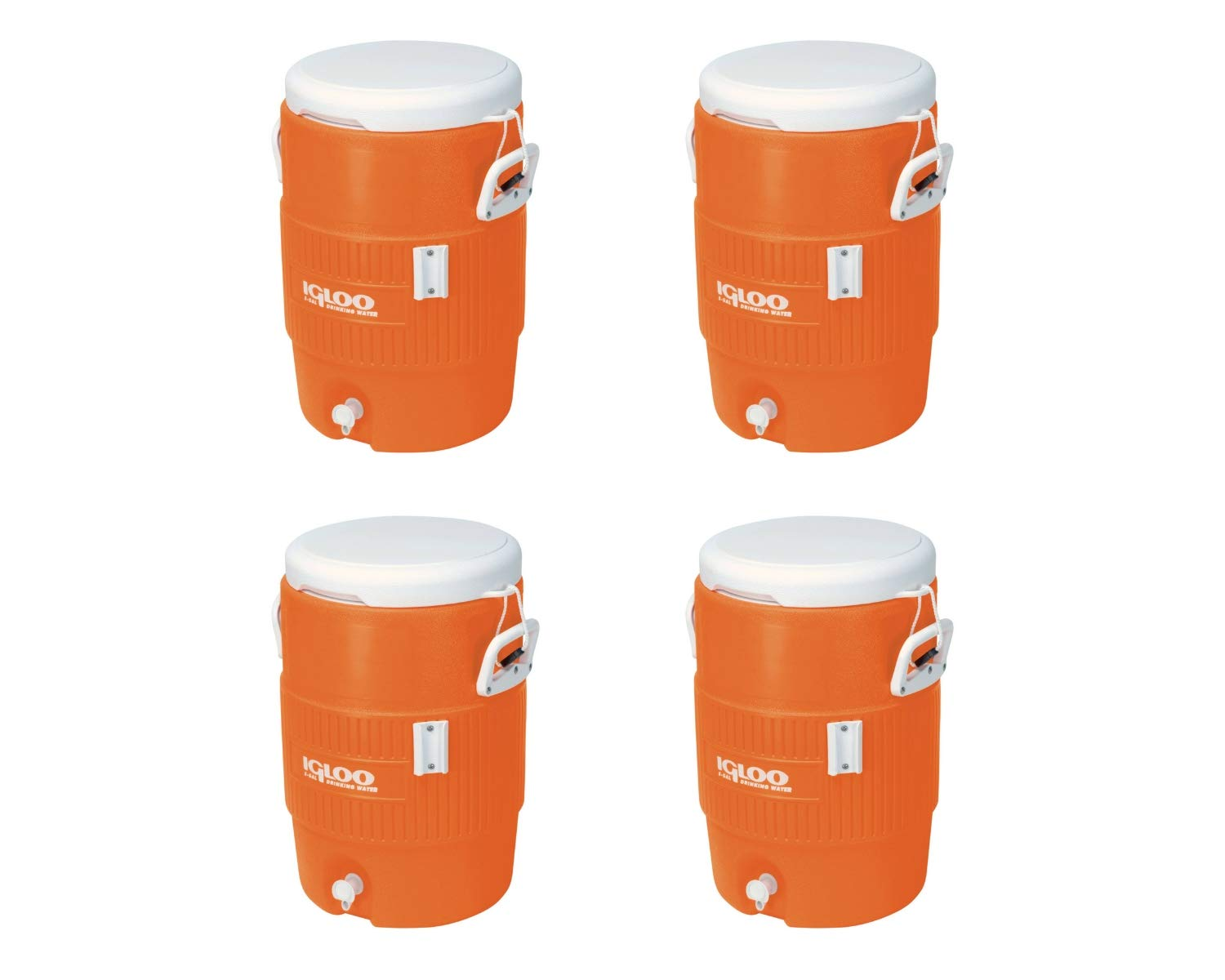 Igloo 5-Gallon Heavy-Duty Beverage Cooler, Orange & Ultimate Drip Catcher Set (4 Set, 5-Gallon, 14.5'' x 13'' x 19.5'', Orange)