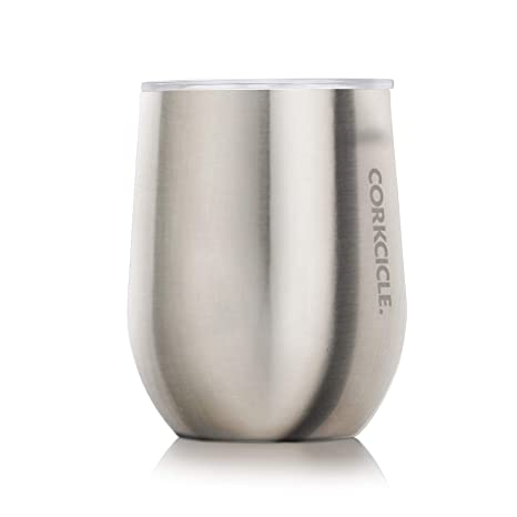 e33902538ab Amazon.com | Corkcicle 12 oz Triple-Insulated Stemless Glass (Perfect for  Wine) - Brushed Steel: Wine Glasses