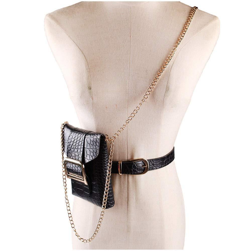 Color : Khaki Women Waist Bag Belt Bags D Buckle PU Fanny Pack with Metal Chain Removable Belt with Waist Pouch Outdoor Travel Sport Bag Ladies Mini Purse Cell Phone Pouch Phone Purse Handbag