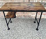 Reclaimed Wood Desk Table – Rustic Solid Oak W/28″ Black Iron Pipe legs.