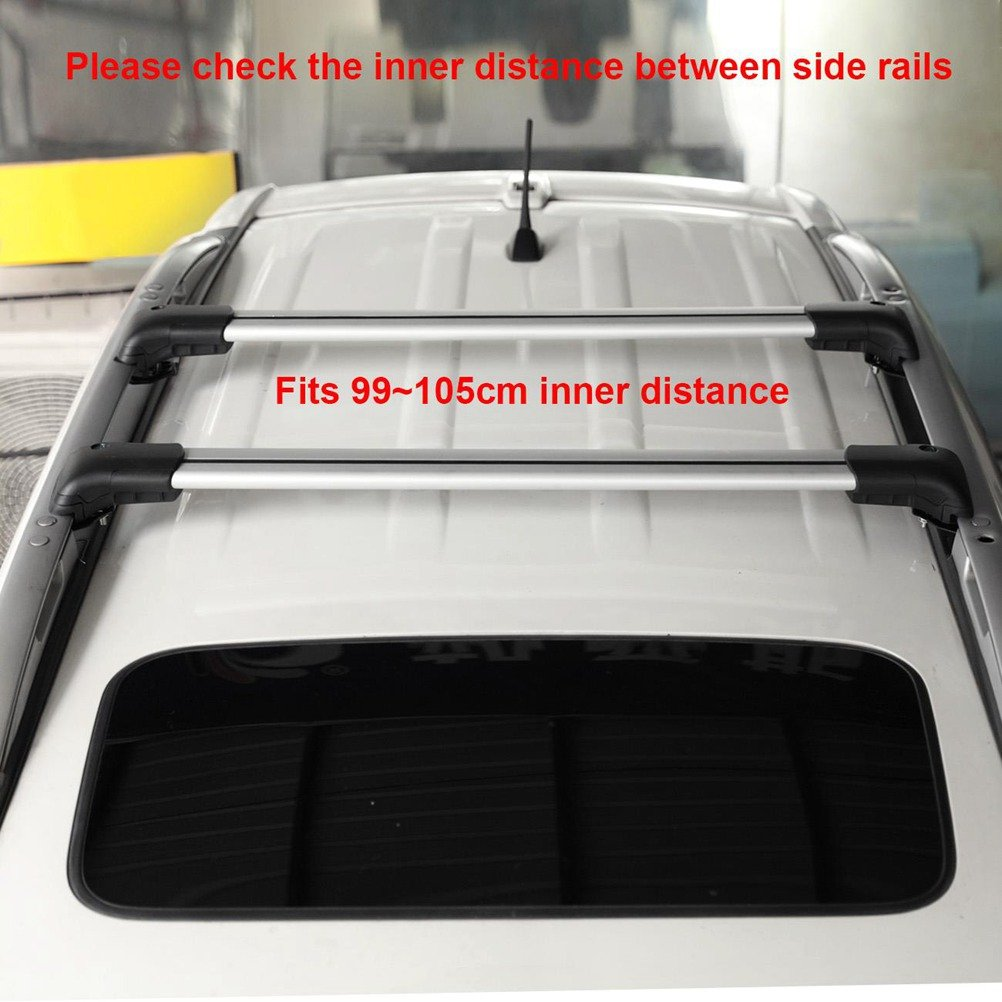 """Amazon.com: ALAVENTE 39""""-41"""" Universal Roof Rack Cross Bar with Lock for  Most Vehicle Wagon with Raised Roof Side Rail (1 pcs, Silver): Automotive"""