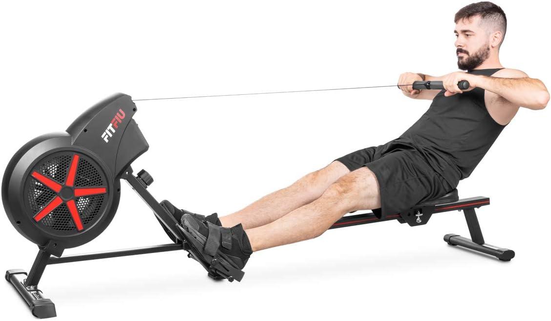 Fitfiu Fitness RA-100 - Máquina de Remo para casa plegable, con resistencia de aire para entrenamiento cross training, con asiento acolchado para ...