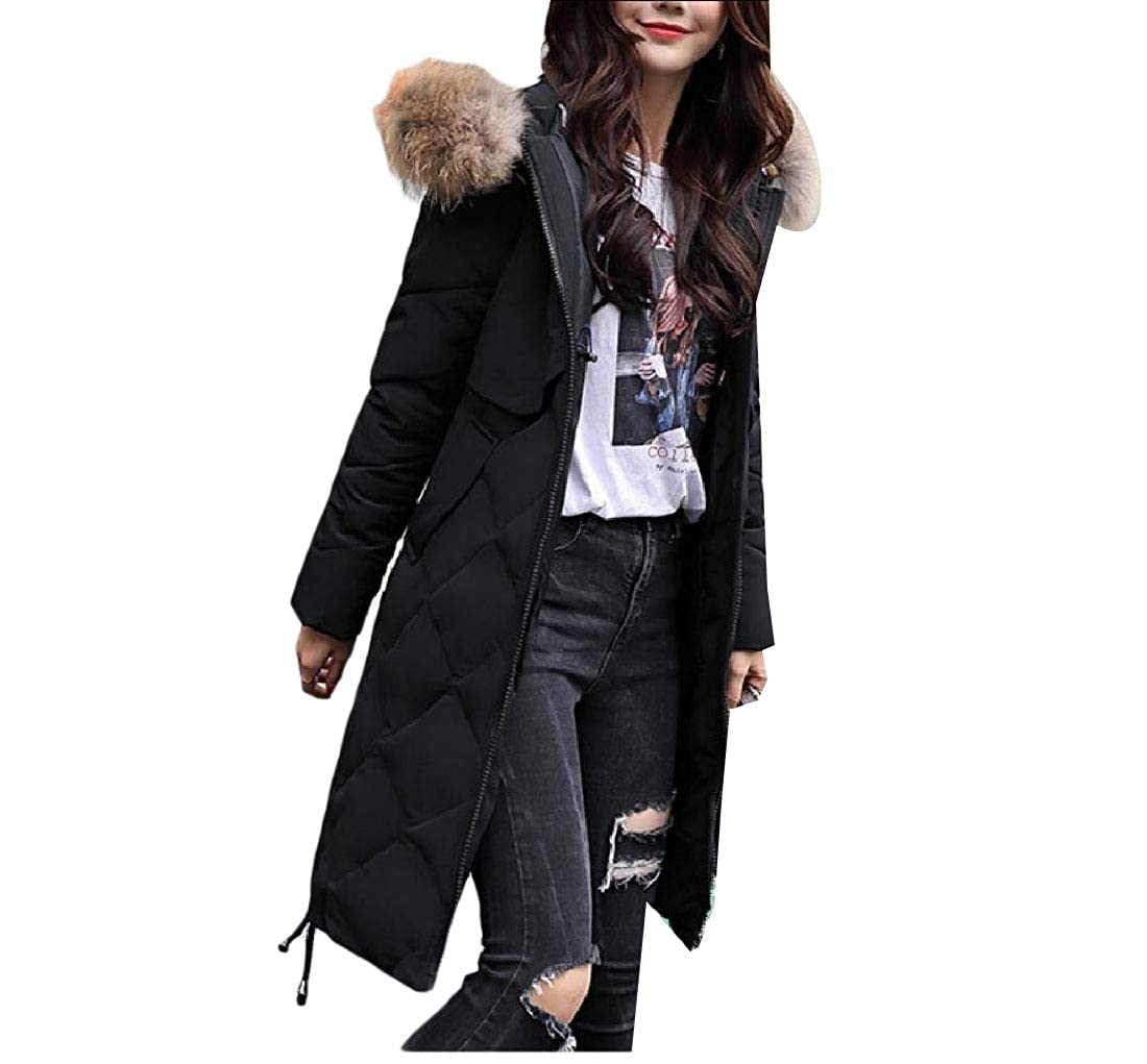 Black Abetteric Women Outwear Overcoat Hood Slim Fitted Thick CottonPadded Parka