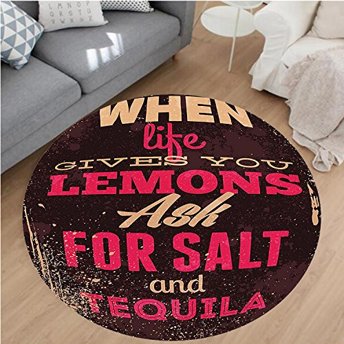 Nalahome Modern Flannel Microfiber Non-Slip Machine Washable Round Area Rug-or When Life Gives You Lemons Tequila Motivational Quote Yin Yang Grunge Image Brown Pink area rugs Home Decor-Round - Rug Yin Yang