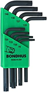 product image for Bondhus 31734 Set of 8 Star L-wrenches, Short Length, sizes T9-T40