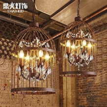 Leihongthebox retro birdcage chandelier crystal lamp personality Creative personality iron Pendant Ceiling Lighting ,40*60cm