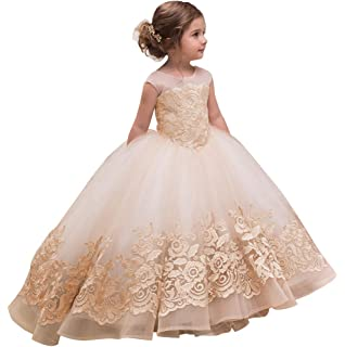696cd153f0b AbaoSisters Elegant Flower Girl Dress for Wedding Kids Sleevelesss Lace  Pageant Ball Gowns