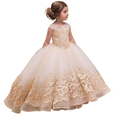 570d6539253 AbaoSisters Elegant Flower Girl Dress for Wedding Kids Sleevelesss Lace  Pageant Ball Gowns Size 2 Rose