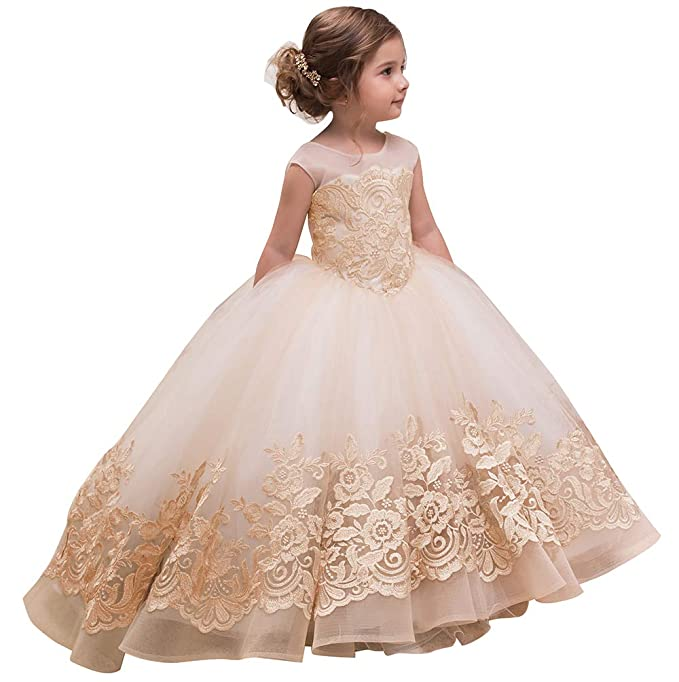 AbaoSisters Elegant Flower Girl Dress for Wedding Kids Sleevelesss Lace  Pageant Ball Gowns